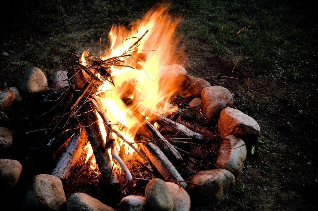 small campfire in stones