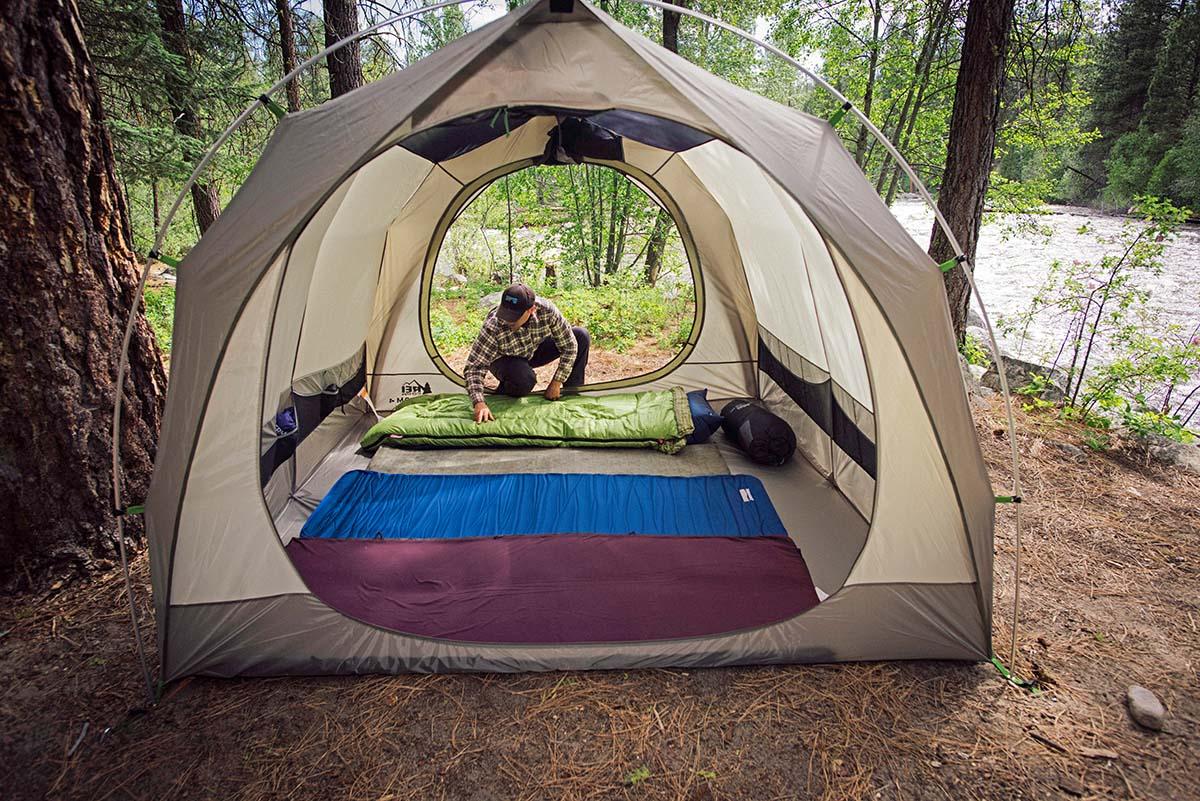 Camping mats inside tent