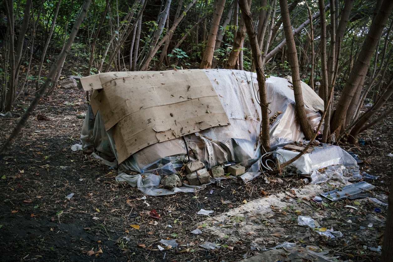 Homeless doweling. Small habitation, tent made from garbage